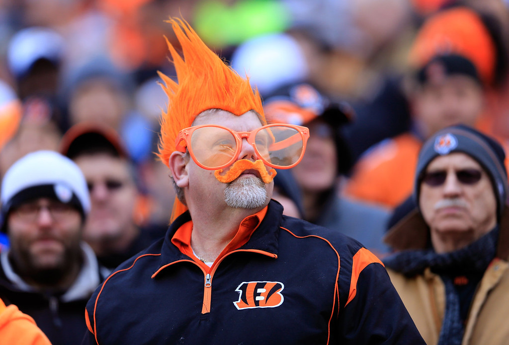 . A Cincinnati Bengals fan looks on during a Wild Card Playoff game against the San Diego Chargers at Paul Brown Stadium on January 5, 2014 in Cincinnati, Ohio.  (Photo by Rob Carr/Getty Images)