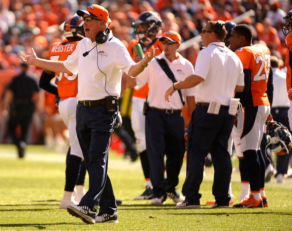 . Denver Broncos head coach John Fox on the sidelines during the first quarter.  (Photo by John Leyba/The Denver Post)