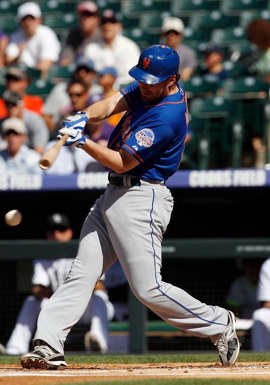 . New York Mets\' Daniel Murphy grounds out against the Colorado Rockies in the first inning of a baseball game in Denver on Thursday, June 27, 2013. (AP Photo/David Zalubowski)