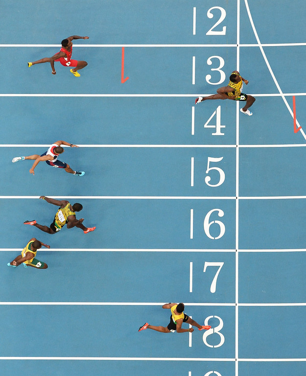 . (From bottom) Jamaica\'s Warren Weir, South Africa\'s Anaso Jobodwana, Jamaica\'s Nickel Ashmeade, Britain\'s Adam Gemili, Jamaica\'s Usain Bolt and US athlete Curtis Mitchell compete in the men\'s 200 metres final at the 2013 IAAF World Championships at the Luzhniki stadium in Moscow on August 17,  2013. ANTONIN THUILLIER/AFP/Getty Images