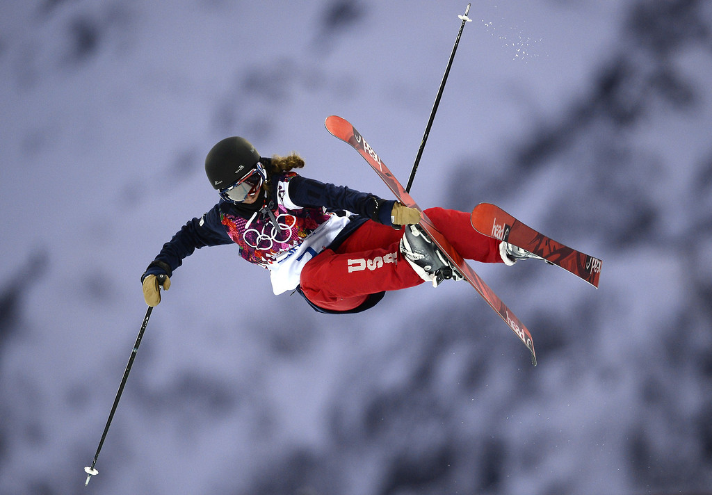 . US Maddie Bowman competes in the Women\'s Freestyle Skiing Halfpipe qualifications at the Rosa Khutor Extreme Park during the Sochi Winter Olympics on February 20, 2014.         AFP PHOTO / FRANCK FIFE/AFP/Getty Images
