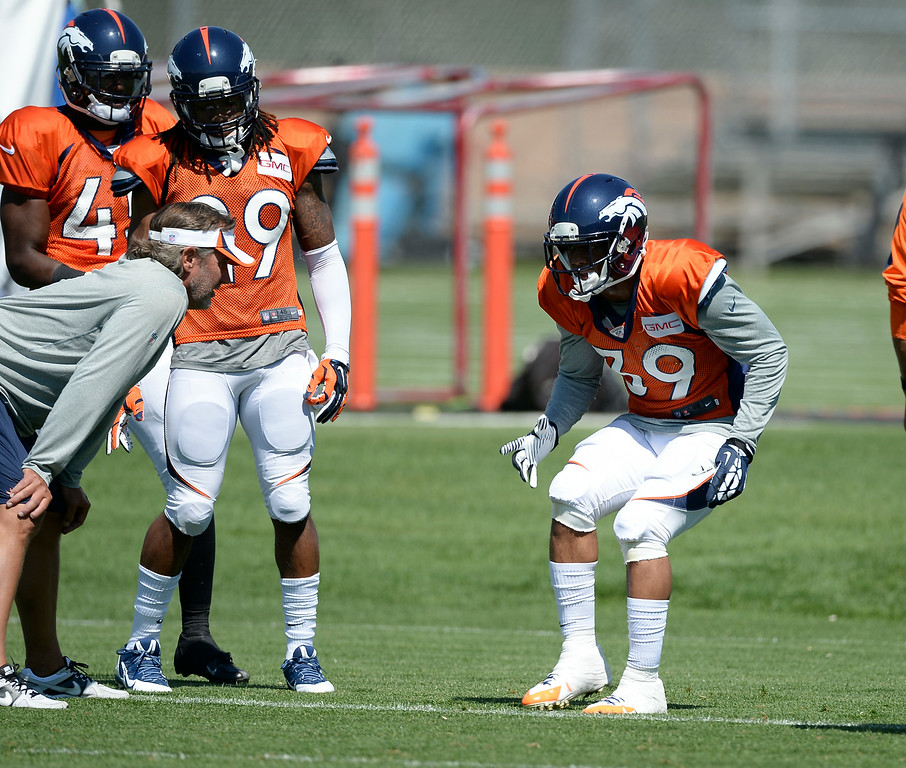 . Denver Broncos defensive back Lou Young (39) runs through drills at the Denver Broncos 2014 training camp August 11, 2014 at Dove Valley. (Photo by John Leyba/The Denver Post)