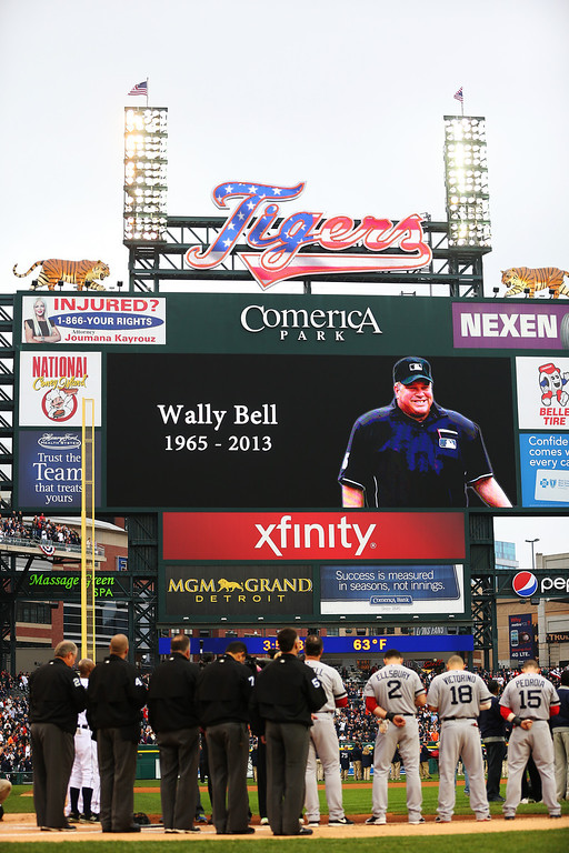 . Umpire Wally Bell is remembered during pregame ceremonies for Game Three of the American League Championship Series between the Detroit Tigers and the Boston Red Sox at Comerica Park on October 15, 2013 in Detroit, Michigan.  (Photo by Ronald Martinez/Getty Images)
