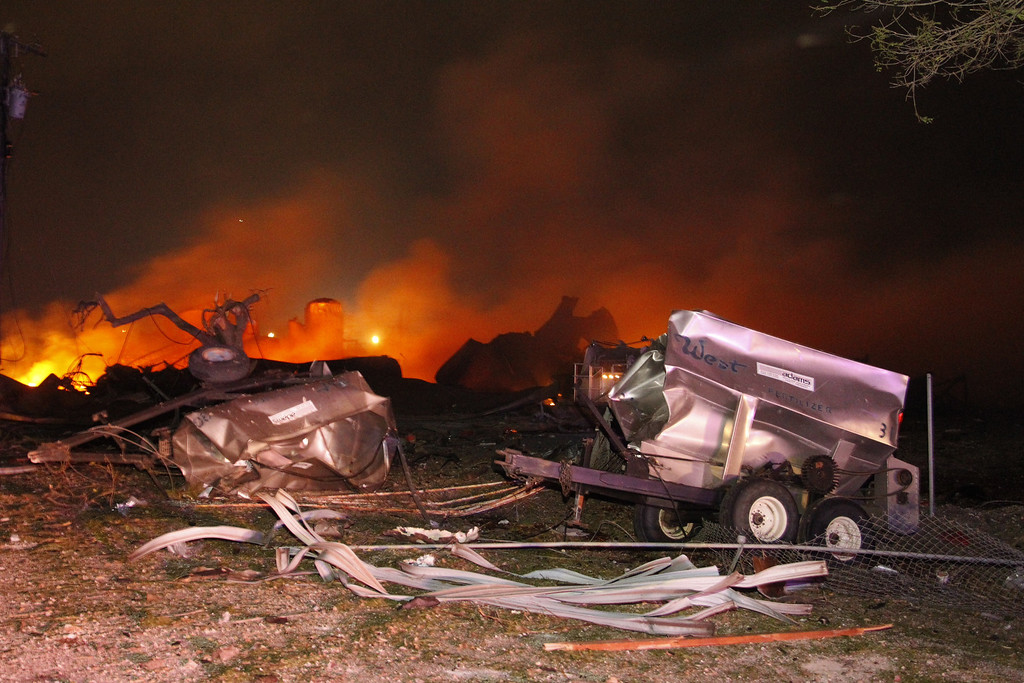 . A fire burns at a fertilizer plant in West, Texas after an explosion Wednesday April 17, 2013 (AP Photo/Michael Ainsworth/The Dallas Morning News)