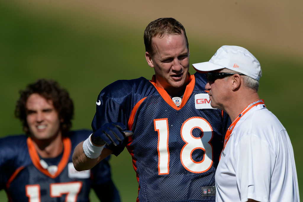 . Denver Broncos quarterback Peyton Manning (18) talks with Denver Broncos head coach John Fox before practice at the Denver Broncos 2014 training camp August 12, 2014 at Dove Valley. (Photo by John Leyba/The Denver Post)