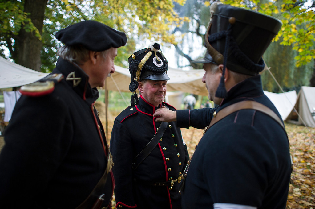 . Historical society enthusiasts from Russia in the role of Prussian light infantry prepare to commemorate the 200th anniversary of The Battle of Nations on October 18, 2013 in Leipzig, Germany.  (Photo by Jens Schlueter/Getty Images)