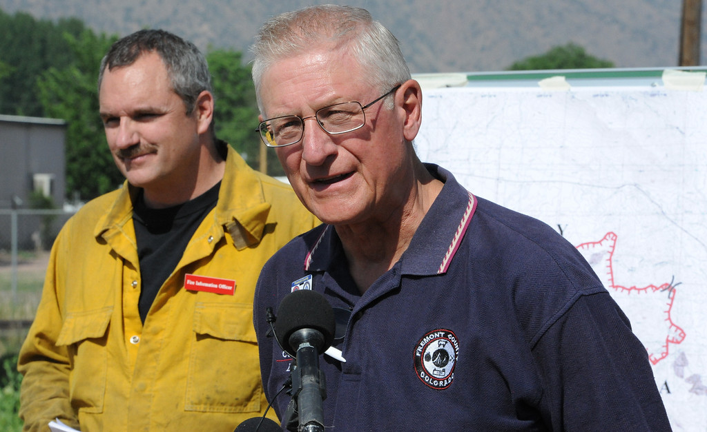 . Fremont County Commissioner Ed Norden speaks Wednesday morning during a morning press conference about the Royal Gorge Fire. The fire has spread to 3,800 acres. Michael Alcala/Daily Record