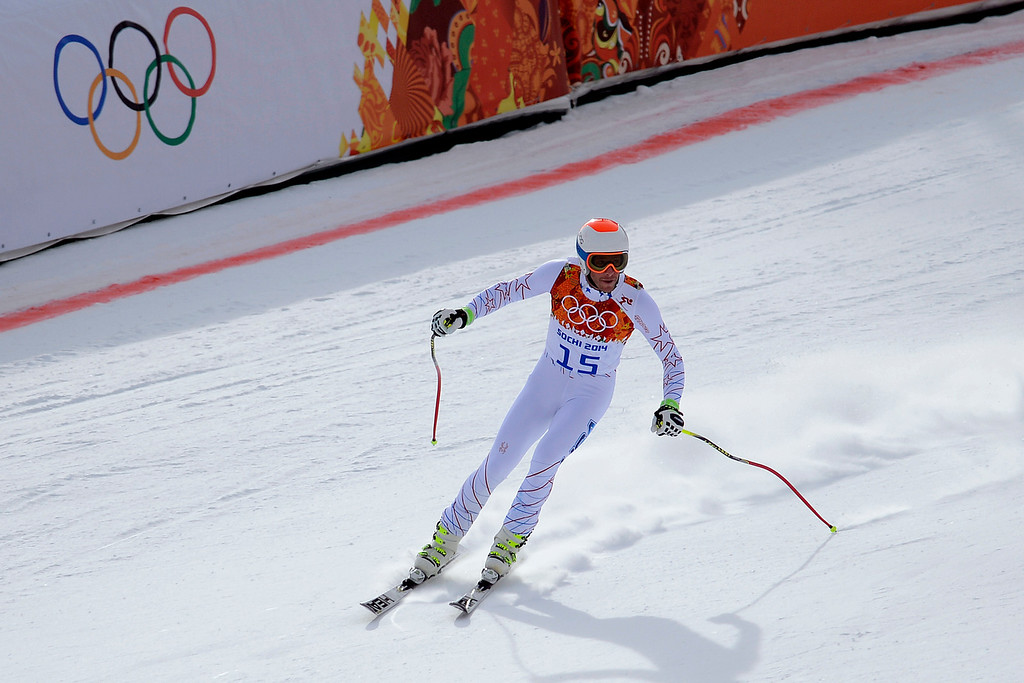 . SOCHI, RUSSIA - FEBRUARY 09: United States skier Bode Miller crosses the finish line during the alpine skiing men\'s downhill final. Sochi 2014 Winter Olympics at the Rosa Khutor Alpine Resort on Sunday, February 9, 2014. (Photo by AAron Ontiveroz/The Denver Post)