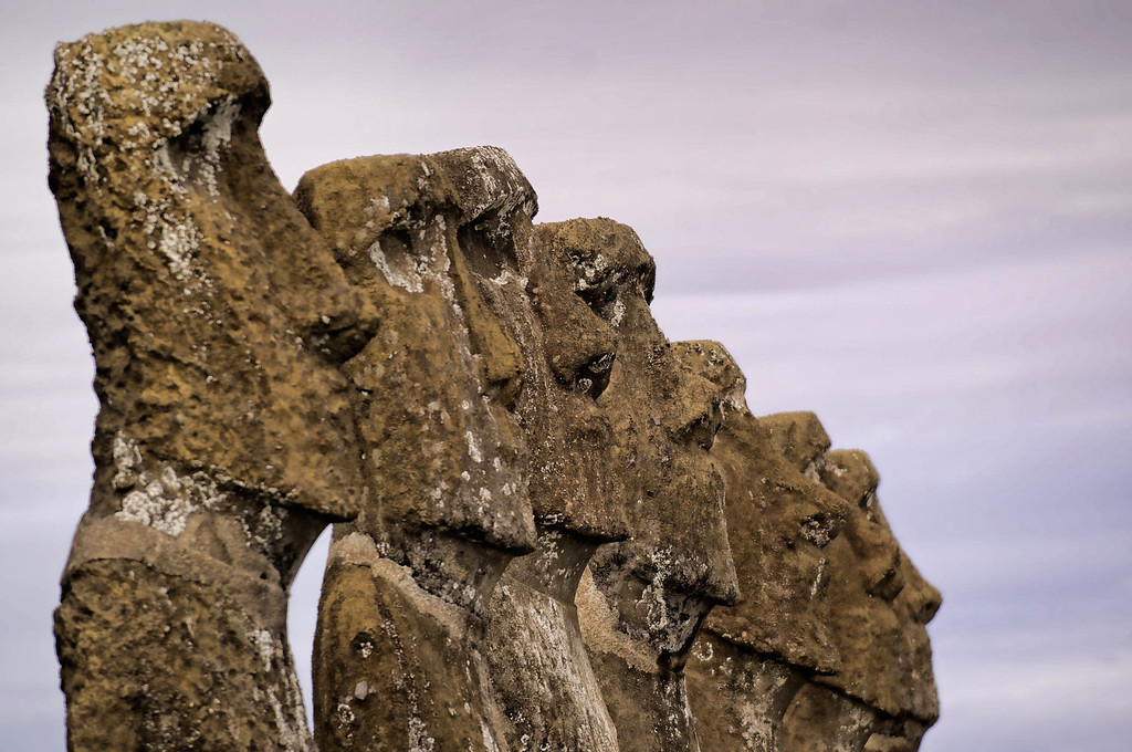 . Ahu Akivi Moais -- stone statues of the Rapa Nui culture -- are seen on Easter Island, 3700 km off the Chilean coast in the Pacific Ocean, on July 13, 2010. MARTIN BERNETTI/AFP/Getty Images