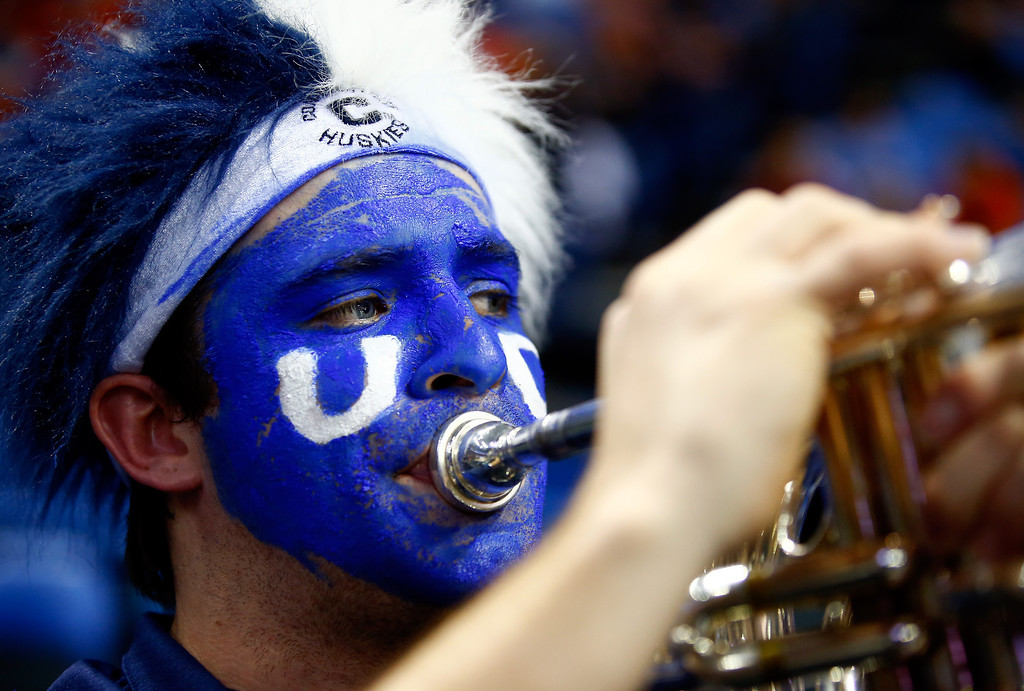 . BUFFALO, NY - MARCH 22:  A Connecticut Huskies band member plays during the third round of the 2014 NCAA Men\'s Basketball Tournament against the Villanova Wildcats at the First Niagara Center on March 22, 2014 in Buffalo, New York.  (Photo by Jared Wickerham/Getty Images)