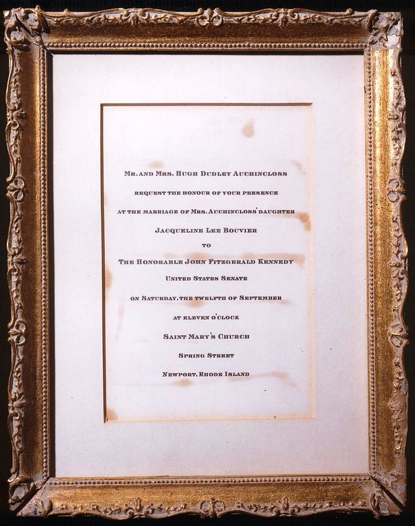. An invitation to the Sept. 12, 1953, wedding of Jacqueline Lee Bouvier and Sen.  John Fitzgerald Kennedy. John F. Kennedy Presidential Library and Museum