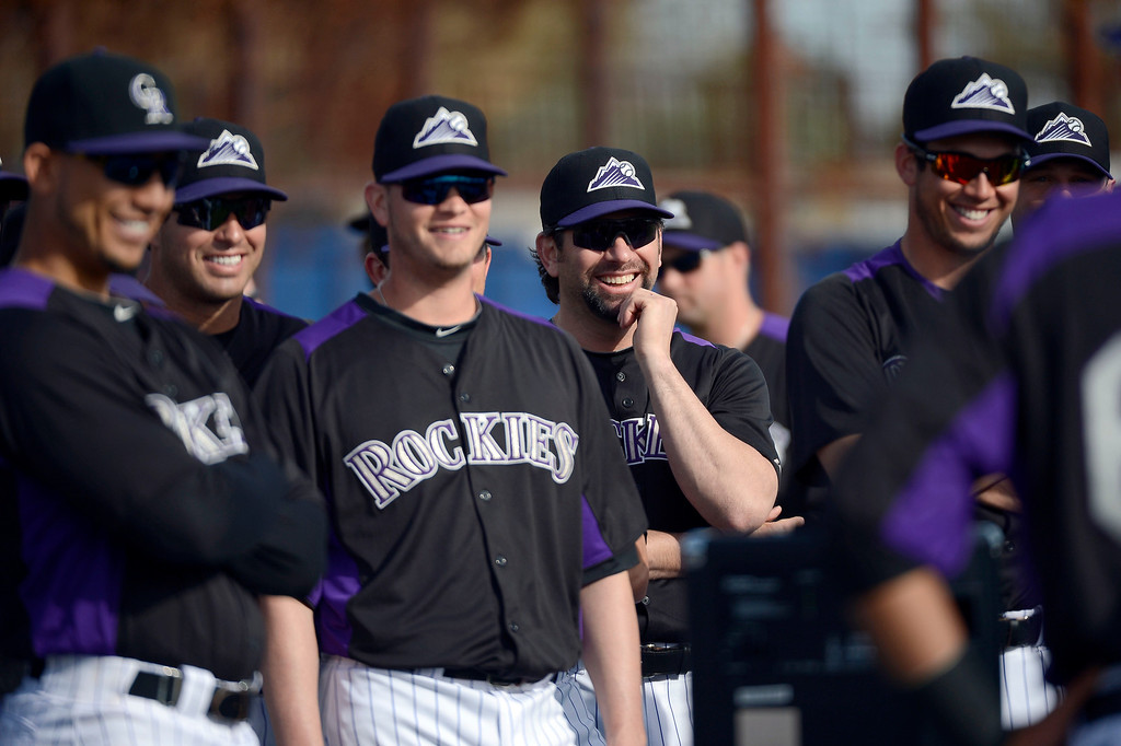 . SCOTTSDALE, AZ. - FEBRUARY 19: Colorado Rockies Todd Helton (17) smiles during conditioning at Spring Training February 19, 2013 in Scottsdale. (Photo By John Leyba/The Denver Post)