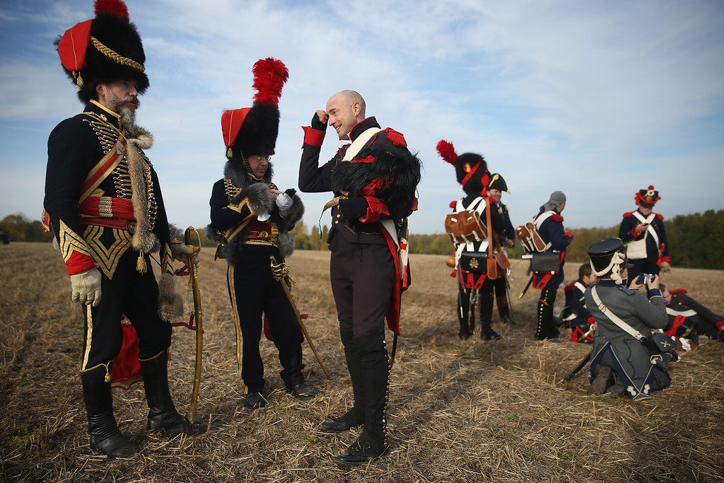 . Historical society enthusiasts in the role of French Imperial Guard fighting under Napoleon arrive to re-enact The Battle of Nations on its 200th anniversary on October 20, 2013 near Leipzig, Germany. (Photo by Sean Gallup/Getty Images)