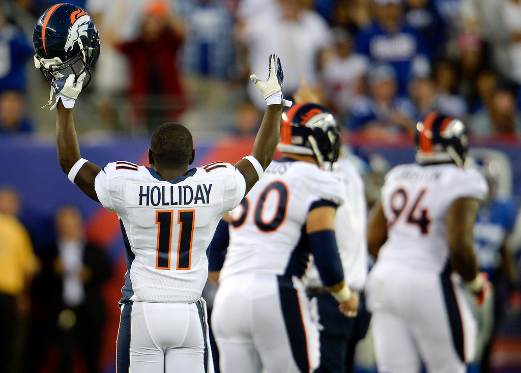 . September 15: wide receiver Trindon Holliday (11) of the Denver Broncos celebrates a touchdown by tight end Julius Thomas (80) of the Denver Broncos to make the score 30-16 in the 4th quarter vs the New York Giants at METLIFE Stadium. September 15, 2013 East Rutherford, NJ. (Photo By Joe Amon/The Denver Post)