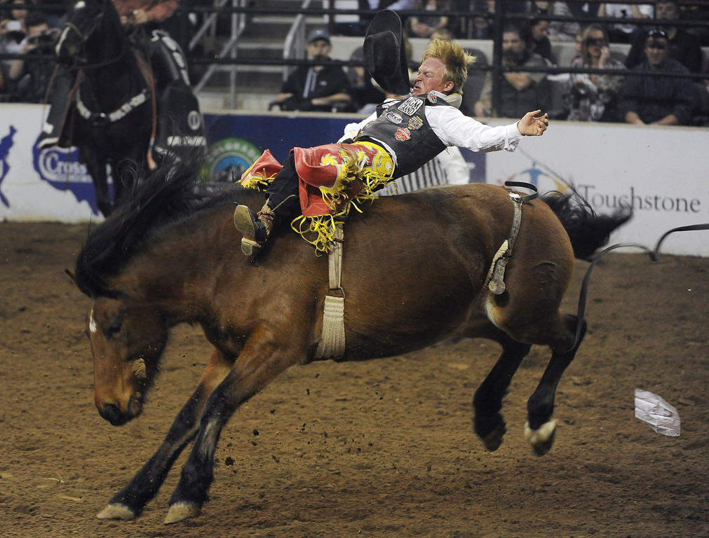 . DENVER, CO- JANUARY 27:   Wes Stevenson of Lubbock, Texas, hangs on during the Bareback Riding competition of the rodeo. The final day of the 2013 National Western Stock show was Sunday, January 27th.  One of the big events for the day was the PRCA Pro Rodeo finals in the Coliseum.  The event featured bareback riding, steer wrestling, team roping, saddle bronc riding, tie down roping, barrel racing and bull riding.  (Photo By Helen H. Richardson/ The Denver Post)