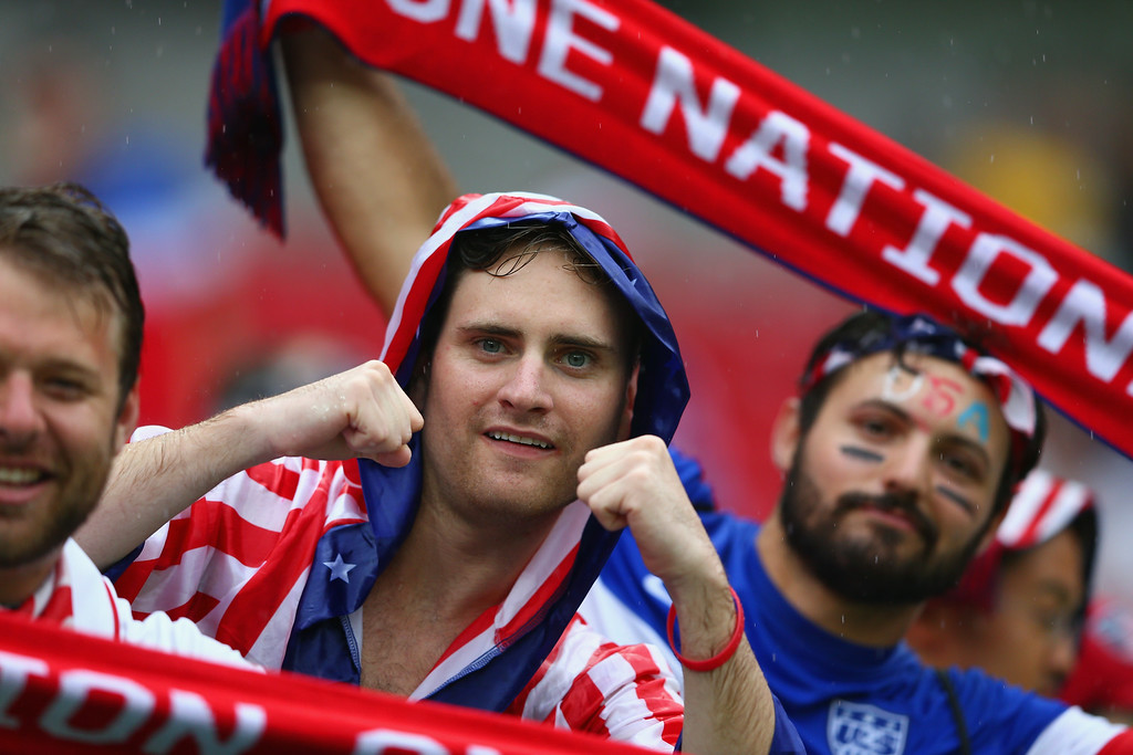 . United States fans look on in the rain prior to the 2014 FIFA World Cup Brazil group G match between the United States and Germany at Arena Pernambuco on June 26, 2014 in Recife, Brazil.  (Photo by Michael Steele/Getty Images)