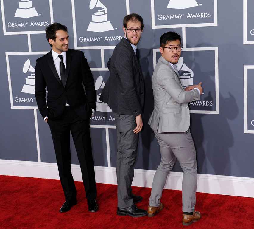 . Daniel Kwan, Daniel Scheinert and Gaetano Crupi arrives to  the 55th Annual Grammy Awards at Staples Center  in Los Angeles, California on February 10, 2013. ( Michael Owen Baker, staff photographer)