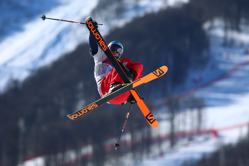 . Bobby Brown of USA in action during the Men\'s Freestyle Skiing Slopestyle qualification in the Rosa Khutor Extreme Park at the Sochi 2014 Olympic Games, Krasnaya Polyana, Russia, 13 February 2014.  EPA/JENS BUETTNER