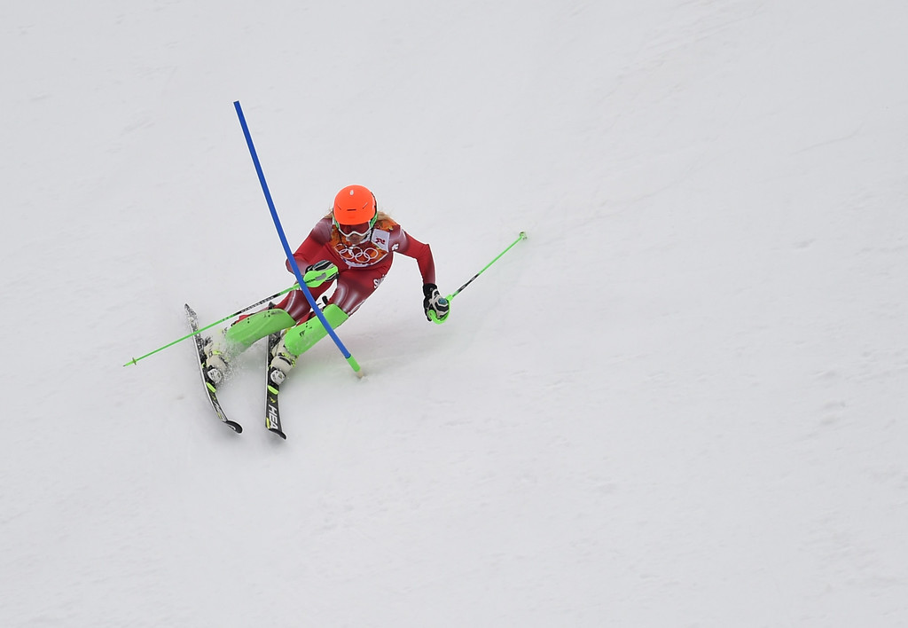 . Switzerland\'s Denise Feierabend skis during the Women\'s Alpine Skiing Super Combined Slalom at the Rosa Khutor Alpine Center during the Sochi Winter Olympics on February 10, 2014.    AFP PHOTO / FABRICE COFFRINI/AFP/Getty Images