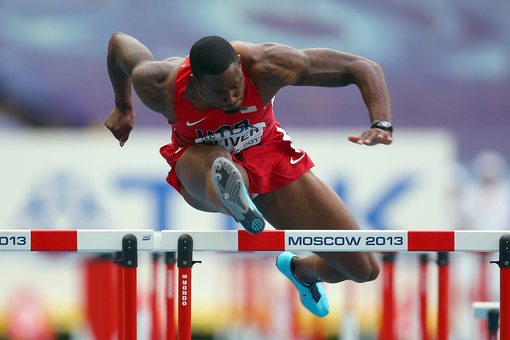 . David Oliver of the United States competes in the Men\'s 110 meters hurdles semi final during Day Three of the 14th IAAF World Athletics Championships Moscow 2013 at Luzhniki Stadium on August 12, 2013 in Moscow, Russia.  (Photo by Mark Kolbe/Getty Images)