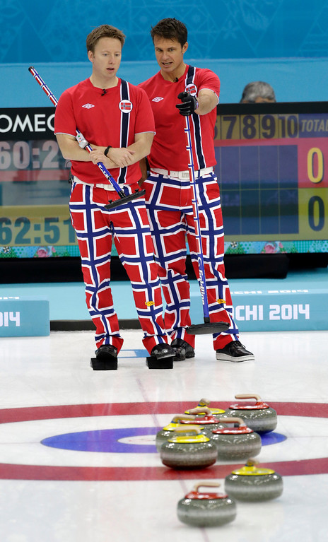 . Norwayís skip Thomas Ulsrud, right, and Torger Nergaard, talk strategy during men\'s curling competition against Sweden at the 2014 Winter Olympics, Thursday, Feb. 13, 2014, in Sochi, Russia. (AP Photo/Robert F. Bukaty)