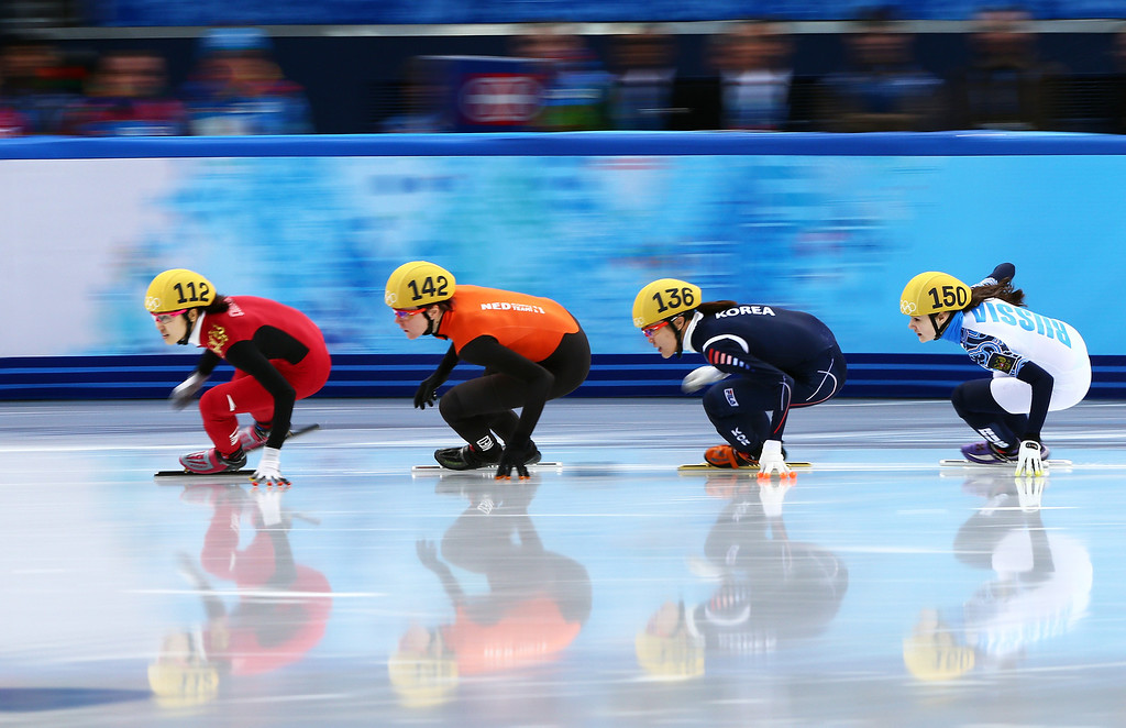 . SOCHI, RUSSIA - FEBRUARY 13:  (L-R)  Qiuhong Liu of China, Jorien ter Mars of the Netherlands, Alang Kim of South Korea and Sofia Prosvirnova of Russia compete in the Women\'s Short Track 500m heats on day 6 of the Sochi 2014 Winter Olympics at at Iceberg Skating Palace on February 13, 2014 in Sochi, Russia.  (Photo by Clive Mason/Getty Images)