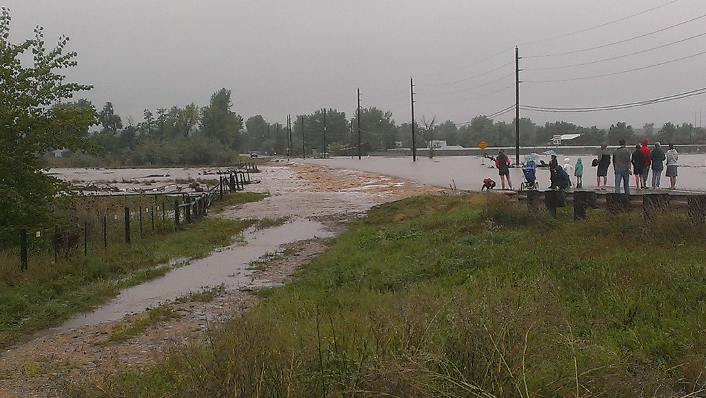 . Flooding at 75th & Jay, Boulder. Photo by Steve Merager