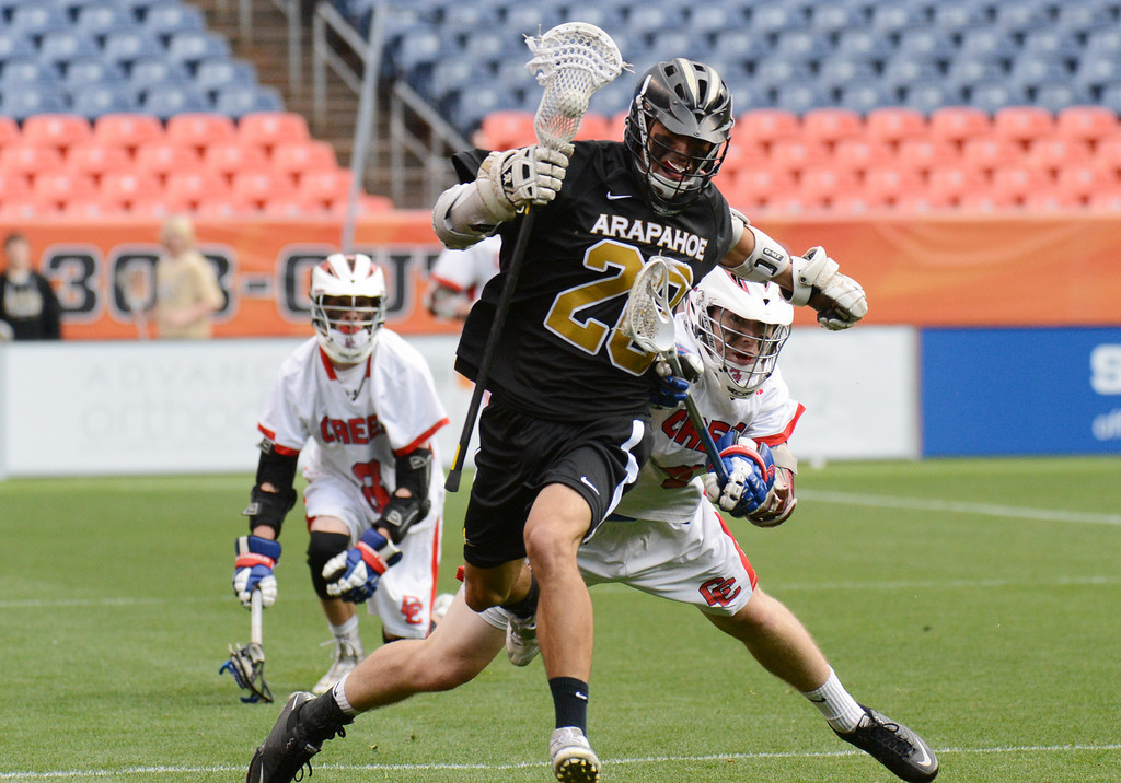 . DENVER, CO. - MAY 18 : Michael Lillmars of Arapahoe High School (20) controls the ball against  Cherry Creek High School defenders during 5A Boy\'s Lacrosse Championship game at Sports Authority Field at Mile High Stadium. Denver, Colorado. May 18, 2013. Arapahoe won 10-7. (Photo By Hyoung Chang/The Denver Post)