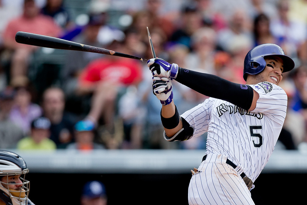 . Carlos Gonzalez #5 of the Colorado Rockies breaks his bat enroute to an RBI single during the seventh inning against the San Diego Padres at Coors Field on May 18, 2014 in Denver, Colorado. The Rockies defeated the Padres 8-6 in 10 innings. (Photo by Justin Edmonds/Getty Images)