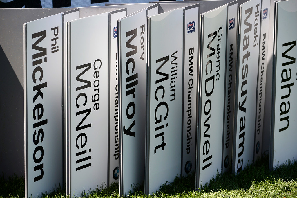 . CHERRY HILLS VILLAGE, CO. - SEPTEMBER 02:  Professional golfers names, fixed to plates awaiting them at the driving range at the FedExCup BMW Championship at the Cherry Hills Country Club Tuesday, September 02, 2014 (Photo By Andy Cross / The Denver Post)