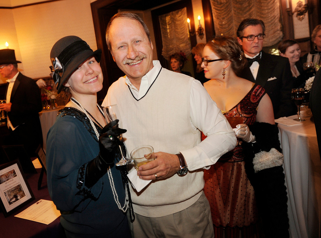 . DENVER, CO. - JANUARY 04: Christy and Len Predaina smiled for the camera. The Rocky Mountain PBS Masterpiece Costume Ball attracted more than 200 fans of the Downton Abbey television drama Saturday night, January 4, 2014 at the Grant Humphreys Mansion. The show\'s new season starts Sunday night. The event also included a silent auction, historical displays, and a costume contest. Photo By Karl Gehring/The Denver Post