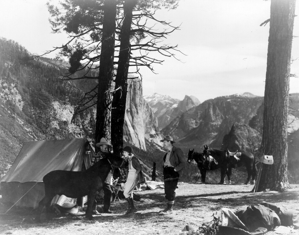 . 1931:  Lionel Barrymore and Norma Shearer in the Yosemite camp scene in the Metro Goldwyn Mayer film \'A Free Soul\'.  (Photo by General Photographic Agency/Getty Images)