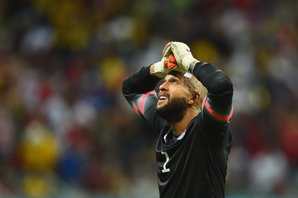 . im Howard of the United States reacts during the 2014 FIFA World Cup Brazil Round of 16 match between Belgium and the United States at Arena Fonte Nova on July 1, 2014 in Salvador, Brazil.  (Photo by Jamie McDonald/Getty Images)