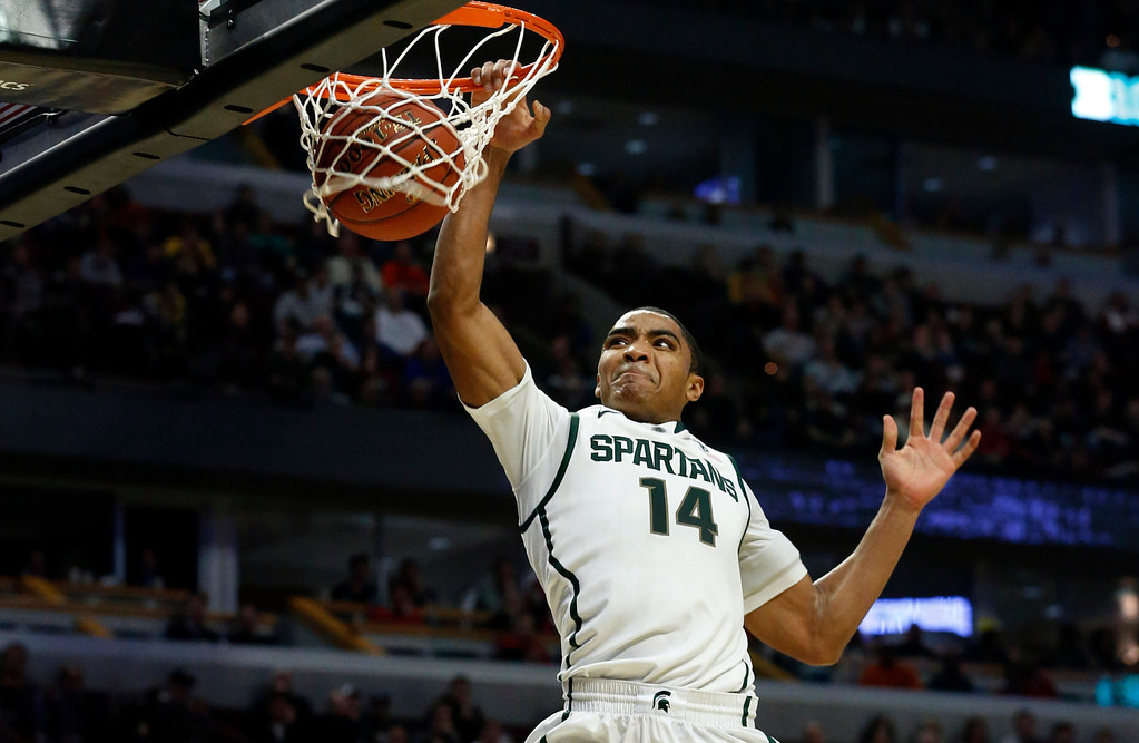 . Gary Harris The 6-foot-4 guard out of Michigan State may cause worry with his size (he�s 6-2 without shoes), but his shooting and defense could fill some holes on the Nuggets� roster. Said the NBA�s senior director for scouting operations, Ryan Blake: �Don�t knock that he�s 6-4 because he plays bigger than his size and is very quick.�  Michigan State\'s Gary Harris dunks during the second half of an NCAA college basketball game at the Big Ten tournament against Iowa Friday, March 15, 2013, in Chicago. Michigan State won 59-56. (AP Photo/Charles Rex Arbogast)