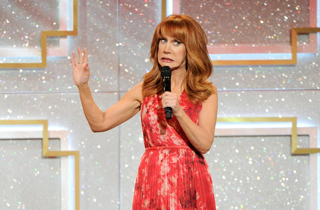 . Host Kathy Griffin speaks on stage at the 41st annual Daytime Emmy Awards at the Beverly Hilton Hotel on Sunday, June 22, 2014, in Beverly Hills, Calif. (Photo by Chris Pizzello/Invision/AP)