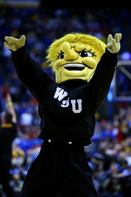 . The Wichita State Shockers mascot cheers against the Kentucky Wildcats during the third round of the 2014 NCAA Men\'s Basketball Tournament at Scottrade Center on March 23, 2014 in St Louis, Missouri.  (Photo by Dilip Vishwanat/Getty Images)