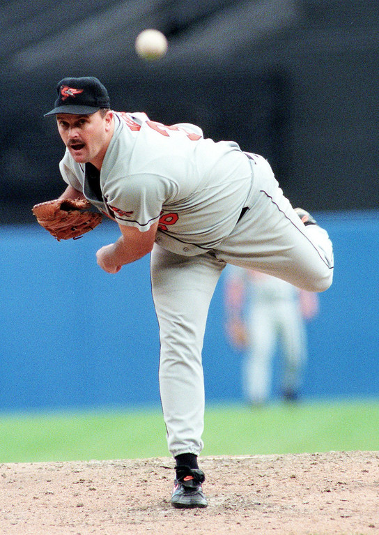 . DAVID WELLS -- Baltimore Orioles\' pitcher David Wells pitches in the first inning of Game 2 of the American League Championship Series against the New York Yankees in New York on Oct. 10, 1996. (AP Photo/Bill Kostroun)