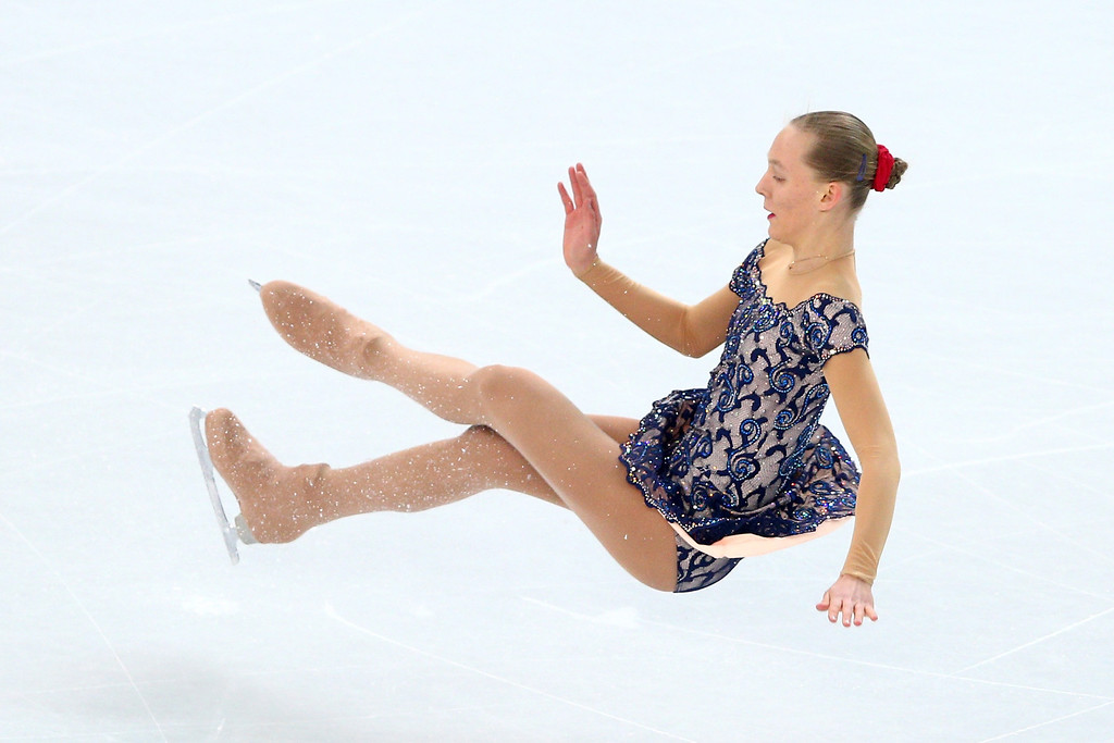 . Elizaveta Ukolova of the Czech Republic falls while competing in the Figure Skating Ladies\' Free Skating on day 13 of the Sochi 2014 Winter Olympics at Iceberg Skating Palace on February 20, 2014 in Sochi, Russia.  (Photo by Paul Gilham/Getty Images)