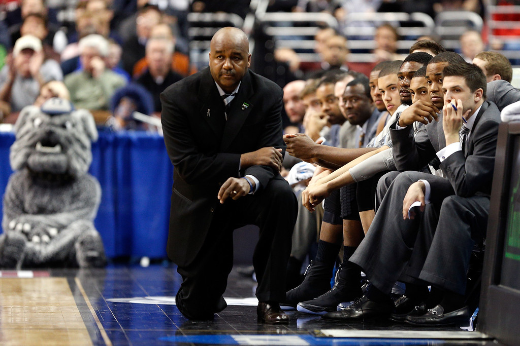 . PHILADELPHIA, PA - MARCH 22:  head coach John Thompson III of the Georgetown Hoyas looks on as he coaches in the first half against the Florida Gulf Coast Eagles during the second round of the 2013 NCAA Men\'s Basketball Tournament at Wells Fargo Center on March 22, 2013 in Philadelphia, Pennsylvania.  (Photo by Rob Carr/Getty Images)