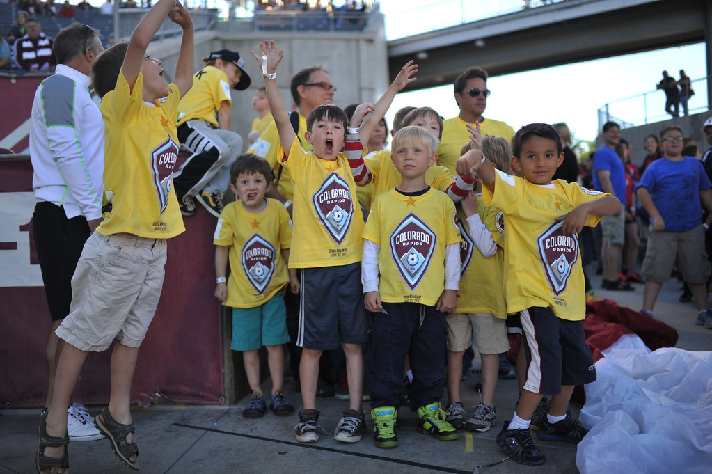 . COMMERCE CITY, CO. - June 01: Young Rapids fans celebrate opening of the Colorado Rapids game against FC Dallas at Dick\'s Sporting Goods Park. Commerce City, Colorado. June 1, 2013. (Photo By Hyoung Chang/The Denver Post)