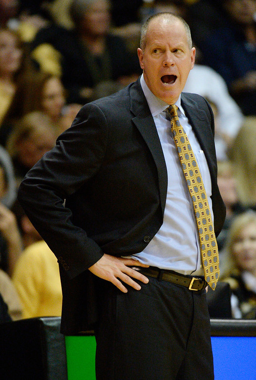 . Colorado Buffaloes head coach Tad Boyle reacts to a cll during the second half against the Oregon Ducks January 5, 2014 at Coors Events Center. Colorado Buffaloes defeated the Oregon Ducks 100-91. (Photo by John Leyba/The Denver Post)