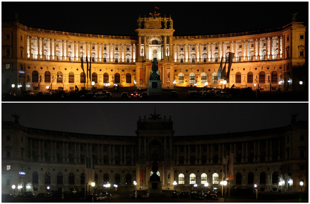 . A combination picture shows Hofburg Palace before (top) and during Earth Hour in Vienna March 23, 2013. Earth Hour, when everyone around the world is asked to turn off the lights for an hour from 8.30 pm local time, is meant as a show of support for tougher actions to combat climate change. REUTERS/Heinz-Peter Bader