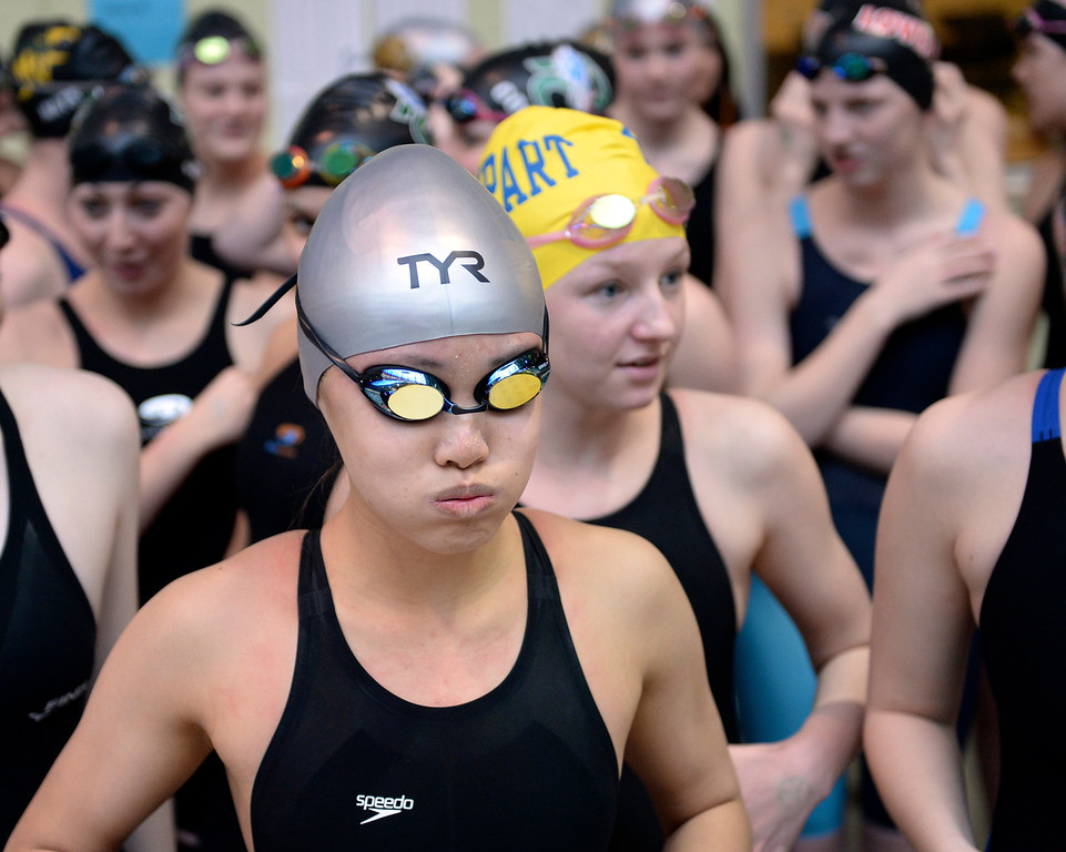 . THORNTON, CO. - FEBRUARY 15, 2014: Swimmers prepared for the 200-yard medley relay Saturday. The CHSAA 5A Girl\'s State Swimming Championships wrapped up Saturday night February 14, 2104.  Photo By Karl Gehring/The Denver Post