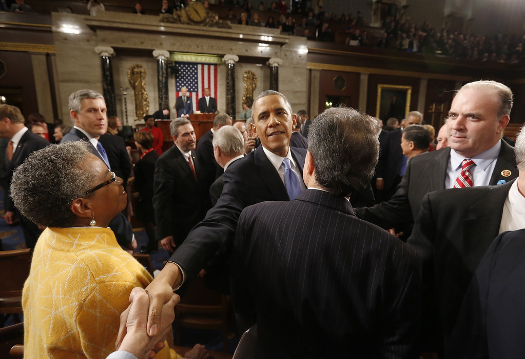 . US President Barack Obama departs after delivering his State of the Union address on Capitol Hill in Washington, January 28, 2014.  LARRY DOWNING/AFP/Getty Images