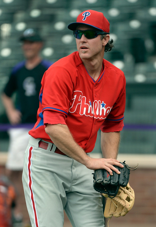 . DENVER, CO - APRIL 18: Philadelphia infielder Chase Utley came to Denver with a .462 hitting average. The Colorado Rockies hosted the Philadelphia Phillies Friday night, April 18, 2014 at Coors Field.  (Photo by Karl Gehring/The Denver Post)
