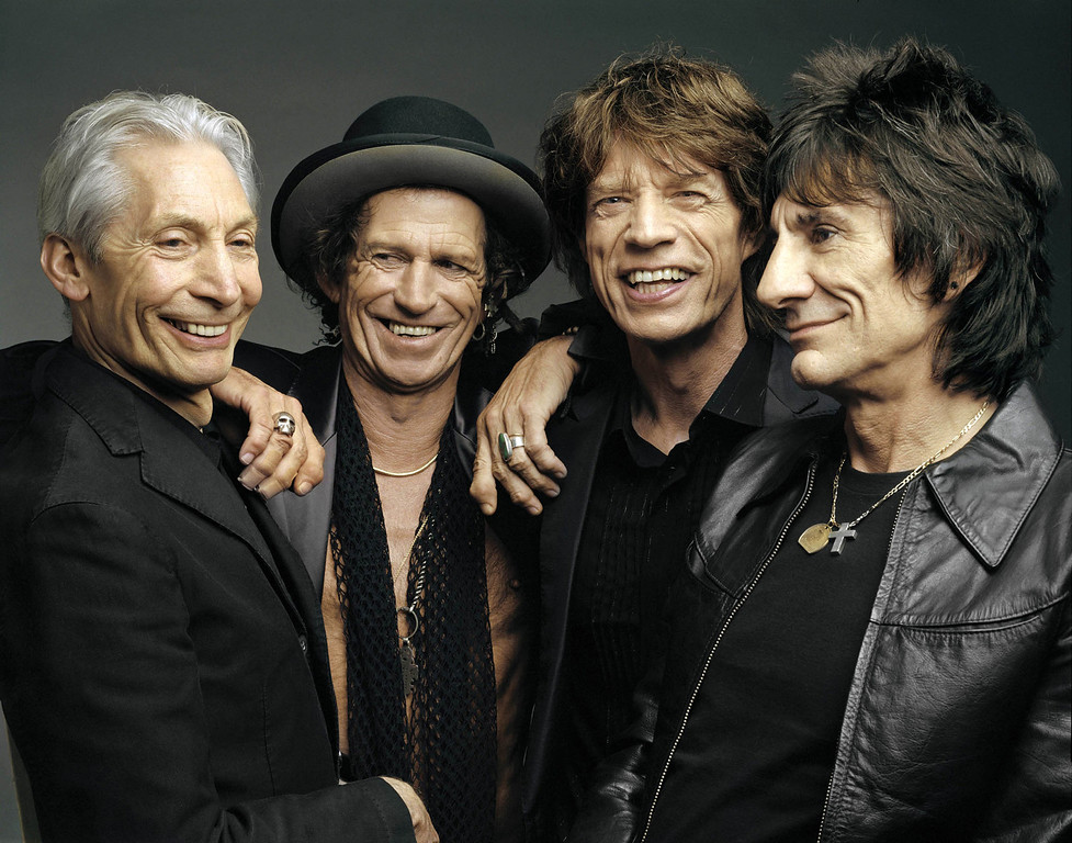 . This 2005 file photo, originally supplied by the Rolling Stones, shows members of the group, from left, Charlie Watts, Keith Richards, Mick Jagger, and Ron Wood posing during a photo shoot.   (AP Photo/The Rolling Stones, Mark Seliger-File)