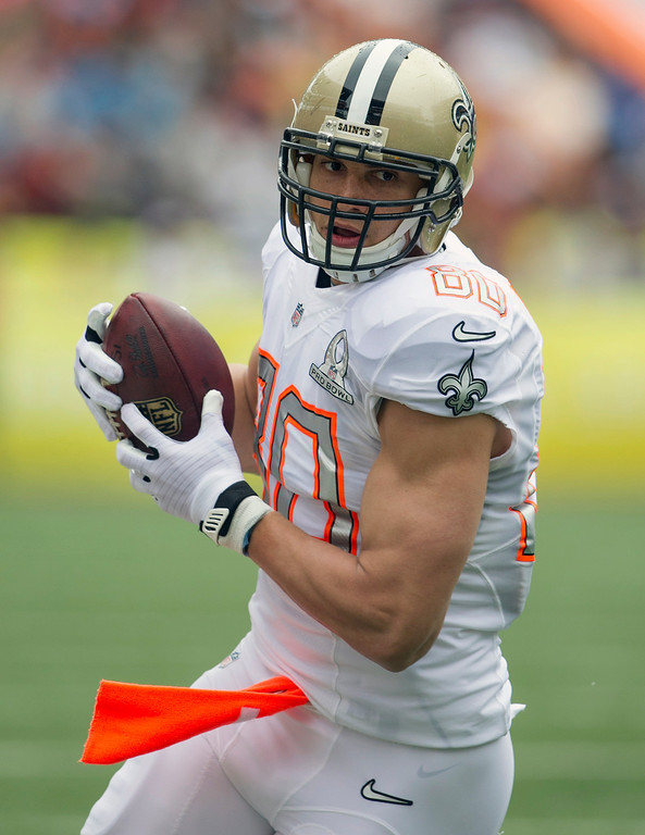 . New Orleans Saints tight end Jimmy Graham (80), of Team Rice, makes a catch during the first quarter at the NFL Pro Bowl football game at Aloha Stadium, Sunday. Jan. 26, 2014, in Honolulu. (AP Photo/Marco Garcia)