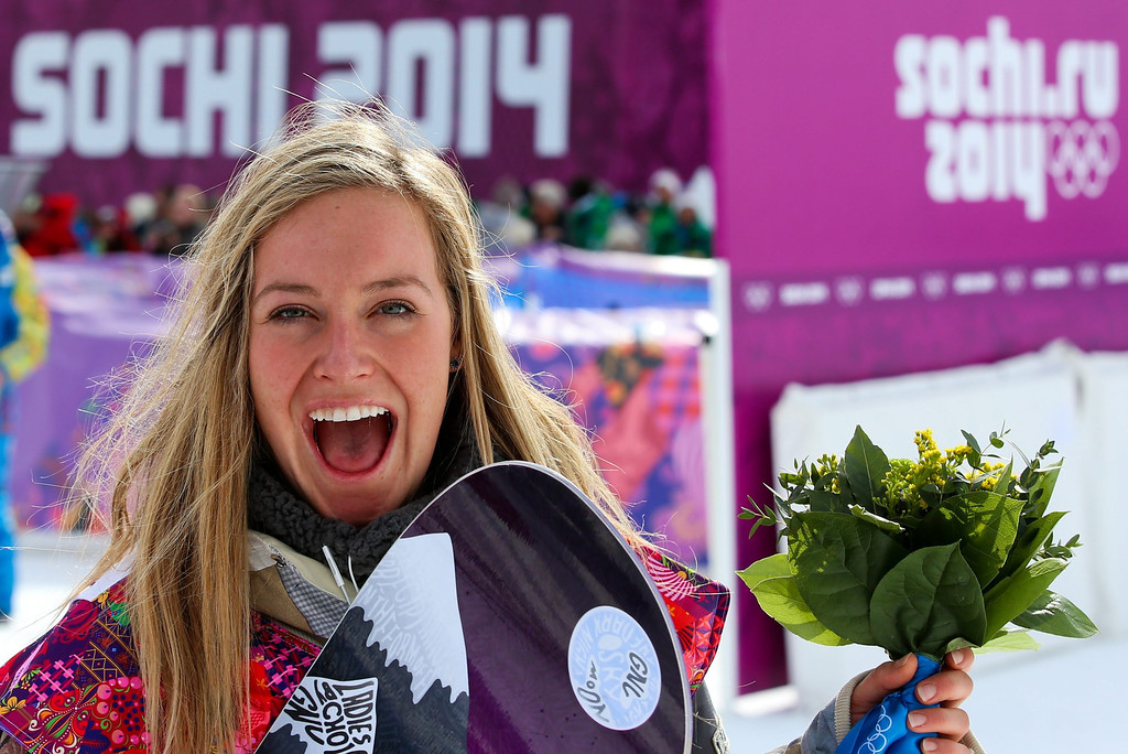 . Jamie Anderson of the USA celebrates after winning the Women\'s Snowboard Slopestyle final at Rosa Khutor Extreme Park at the Sochi 2014 Olympic Games, Krasnaya Polyana, Russia, 09 February 2014.  EPA/JENS BUETTNER