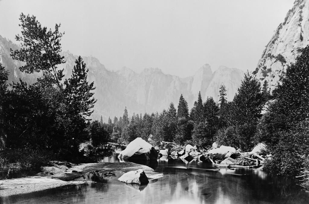. A rocky stream in Yosemite Valley, California, circa 1870. (Photo by Carleton E Watkins/Hulton Archive/Getty Images)
