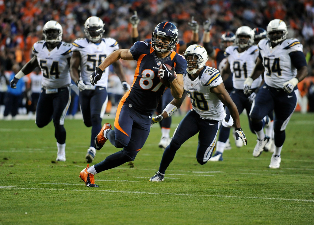 . Eric Decker, who is now a New York Jet, heads upfield for a third-quarter touchdown. (Tim Rasmussen, The Denver Post)